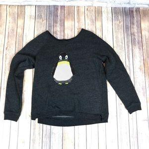 American Eagle Dark Gray Sequin Penguin Sweatshirt